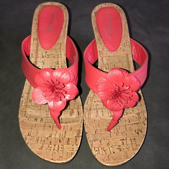 82e9b6e2aa54 Madeline Stuart Shoes - Madeline Stuart Coral Wedge Flower
